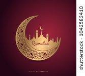 ramadan kareem greeting card... | Shutterstock .eps vector #1042583410