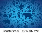 russian pattern wallpaper... | Shutterstock .eps vector #1042587490