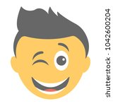 smiley showing winking face  | Shutterstock .eps vector #1042600204