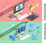 graphic 3d design and various... | Shutterstock . vector #1042633240