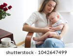 mother  playing with her... | Shutterstock . vector #1042647499
