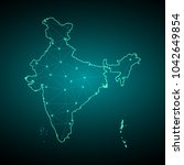 map of india. wire frame 3d...   Shutterstock .eps vector #1042649854