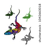 vintage gecko tattoo collection ... | Shutterstock .eps vector #1042663018