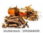 ayurvedic herb liquorice root... | Shutterstock . vector #1042666030