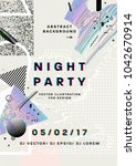 night party poster. 80s disco... | Shutterstock .eps vector #1042670914