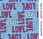 vector hand drawn seamless love ... | Shutterstock .eps vector #1042671340