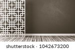 empty room with white oriental... | Shutterstock . vector #1042673200