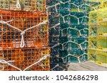 lobster pots in fishing village   Shutterstock . vector #1042686298