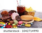 unhealthy products. food bad... | Shutterstock . vector #1042714990