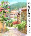 summer watercolor landscape ...   Shutterstock . vector #1042718710