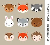 cute woodland animals collection | Shutterstock .eps vector #1042723438