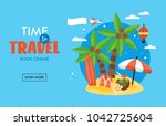 summer holiday tropical beach... | Shutterstock .eps vector #1042725604