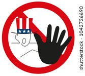 graphic usa hand as stop sign... | Shutterstock .eps vector #1042726690