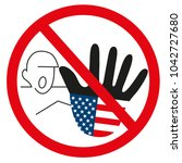 graphic usa hand as stop sign... | Shutterstock . vector #1042727680