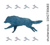 watercolor silhouette of a wolf ... | Shutterstock . vector #1042730683
