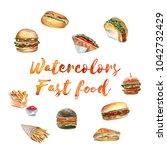 watercolor illustration of hand ... | Shutterstock . vector #1042732429