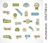 vector stickers  price tag ... | Shutterstock .eps vector #1042738114