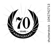 70 years anniversary. elegant... | Shutterstock .eps vector #1042742713