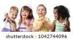 happy kids group eating ice... | Shutterstock . vector #1042744096
