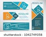 stethoscope icon on horizontal... | Shutterstock .eps vector #1042749358