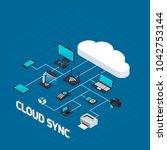 isometric wireless mobile... | Shutterstock . vector #1042753144