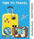 time to travel with bag and... | Shutterstock .eps vector #1042754014