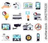 isolated smart home icon set... | Shutterstock . vector #1042755220