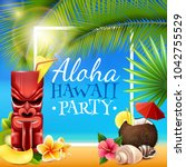 hawaiian party frame with tiki... | Shutterstock . vector #1042755529