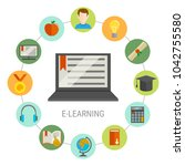 elearning round composition... | Shutterstock . vector #1042755580