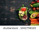 burger  sandwich with salami ... | Shutterstock . vector #1042758103
