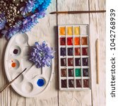 palette of watercolor paints ... | Shutterstock . vector #1042768939