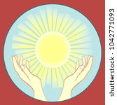 the sun in the hands | Shutterstock .eps vector #1042771093