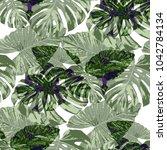 tropical pattern. seamless... | Shutterstock .eps vector #1042784134