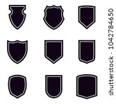 shield icons set. vector... | Shutterstock .eps vector #1042784650