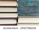 stack books on wooden...   Shutterstock . vector #1042786018