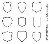 Outlined Shield Icons Set....