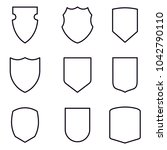 outlined shield icons set.... | Shutterstock .eps vector #1042790110