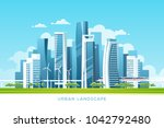 urban landscape with buildings  ... | Shutterstock .eps vector #1042792480