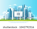 a big city billboard for... | Shutterstock .eps vector #1042792516