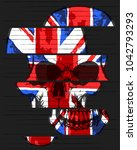 skull tee graphic design with... | Shutterstock .eps vector #1042793293