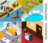four square hotel service... | Shutterstock . vector #1042794046