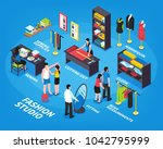 fashion studio isometric... | Shutterstock . vector #1042795999