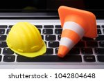 close up of hard hat and... | Shutterstock . vector #1042804648
