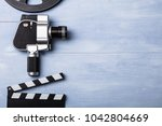 high angle view of movie camera ... | Shutterstock . vector #1042804669