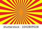red yellow rays background. sun ... | Shutterstock .eps vector #1042809028