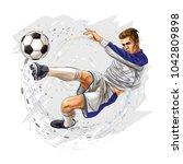 soccer player kicks the ball   Shutterstock .eps vector #1042809898