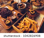classic bbq table with spare... | Shutterstock . vector #1042826908