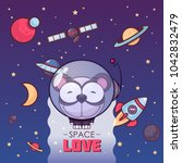 space love. card with vector... | Shutterstock .eps vector #1042832479