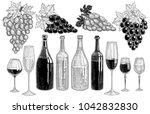 wine bottles  bunches of grapes ... | Shutterstock .eps vector #1042832830