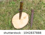 Small photo of Old military bayonet stabbed in a wooden stump. Green grass in the background